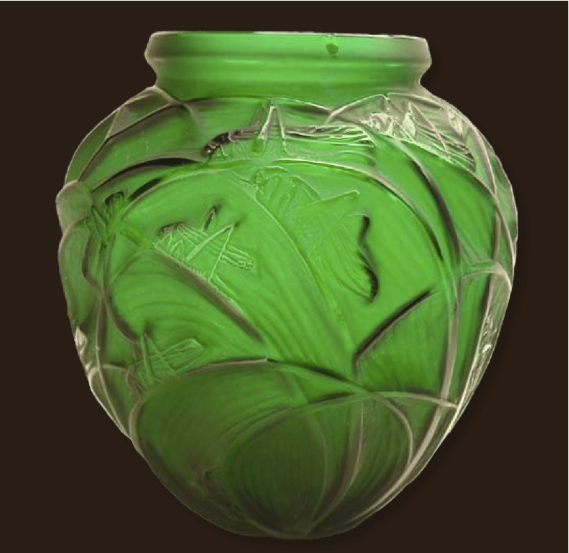 A Rene Lalique Sauterelles large vase in a rare green