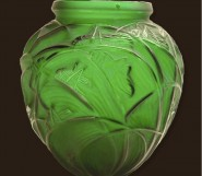A Rene Lalique Sauterelles large vase in a rare green colourway