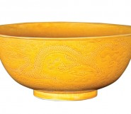 A large Chinese Imperial yellow bowl, underglaze blue six character Guangxu mark and of the period (1875-1908)
