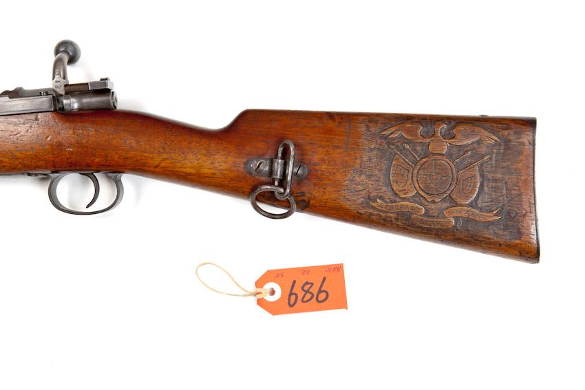 Carved boer war mod mauser carbine by ludw loewe