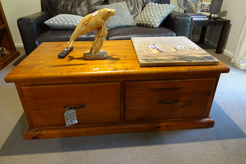 Two drawer chest style dim furniture pine melbourne cup range coffee table amanda addams Display home furniture auction melbourne