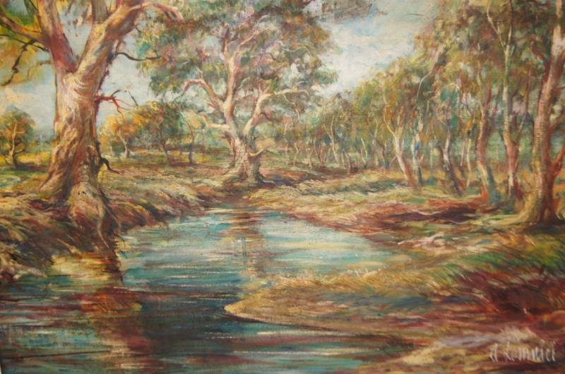 Andy Lomnici Waterhole With Gum Trees Bargain Hunt