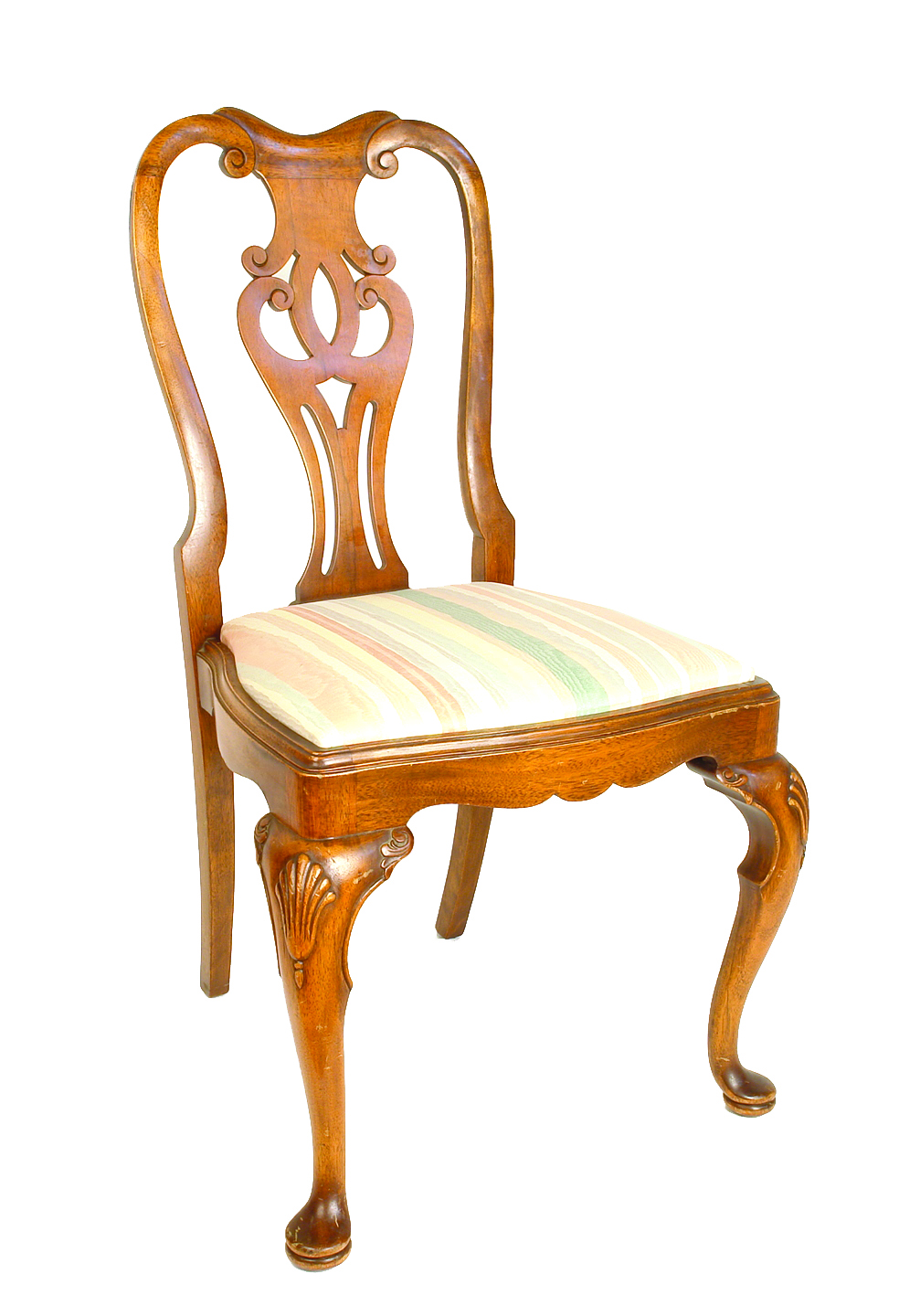 A set of four reproduction Queen Anne walnut dining chairs  : 582 from findlotsonline.com size 984 x 1440 jpeg 1230kB