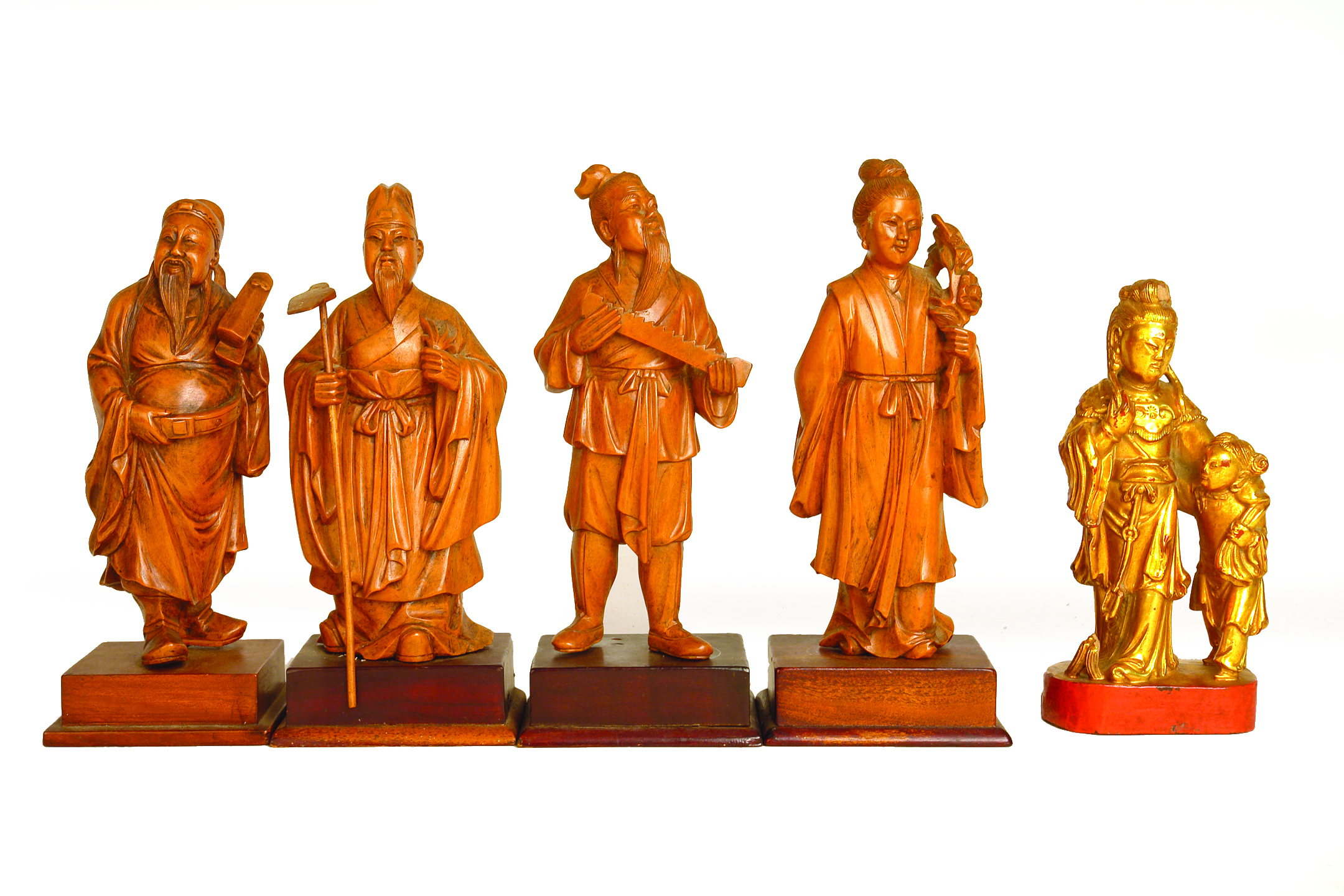A set of six chinese boxwood carvings figures cordy s