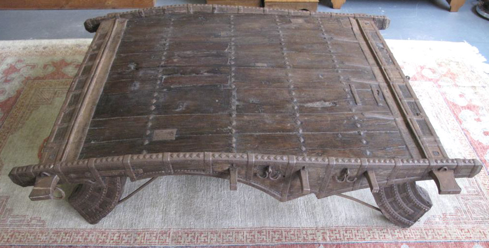 antique indian ox cart converted to large coffee table