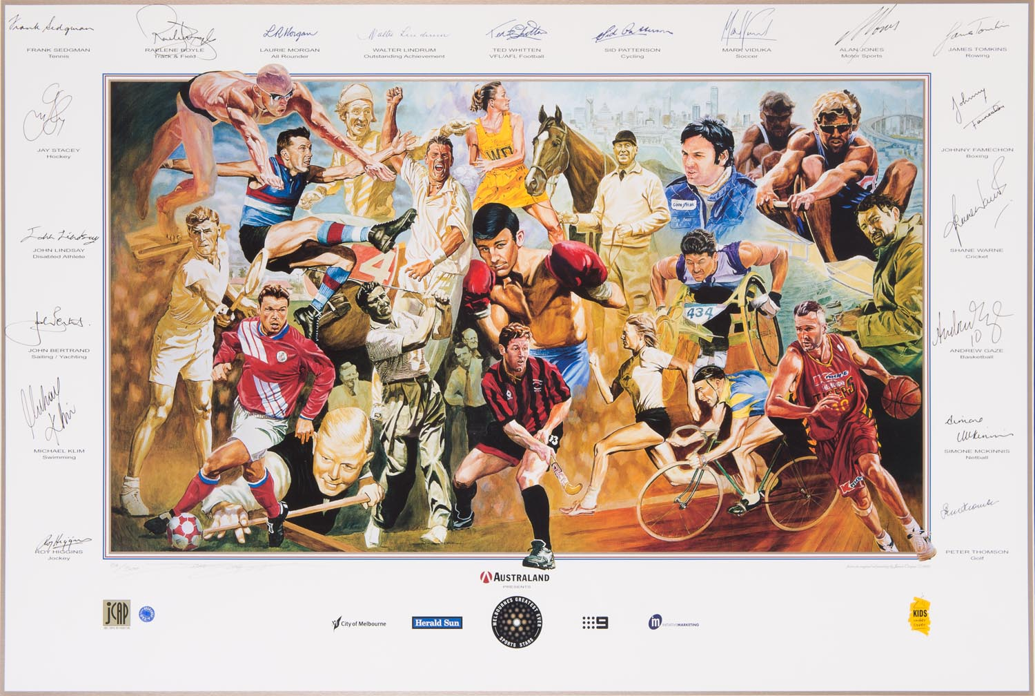 Melbourne 39 s greatest ever sports stars 39 print by jamie for Chaise klim