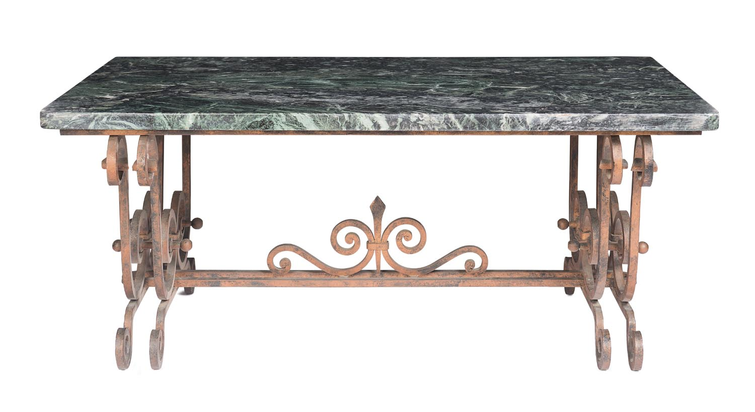 A verde marble and wrought iron coffee table french 19th for Marble and wrought iron coffee table