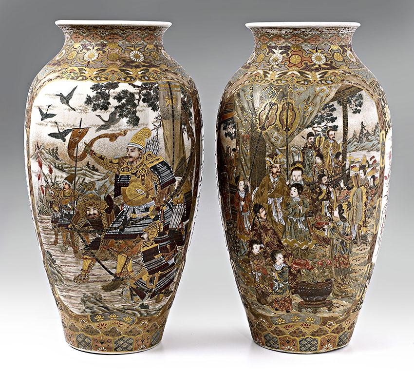 A Large Pair Of Satsuma Earthenware Vases Meiji Period Sothebys
